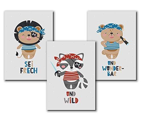 Piraten Poster Kinder, Tierbilder Kinderbilder Kinderzimmer, Bilder maritim Poster - A4 Deko Set -...