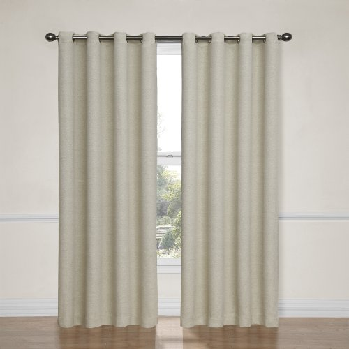 ECLIPSE 52' x 84' Insulated Darkening Single Panel Grommet Top Window Treatment Living Room, Ivory