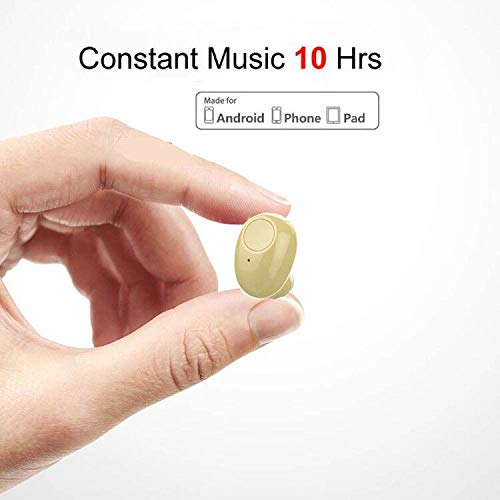 Single Bluetooth Earpiece10 Hrs Playtime,Wireless Headphone, Mini Bluetooth Headset Hands-Free Car Earphone,Cell PhoneV4.1 Bluetooth Earbud for iPhone Samsung Android Phone PC TV Audiobook (Beige)