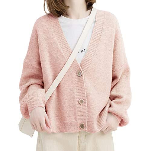 Strickjacke Damen Cardigan Herbst Winter Frauen Pullover Cardigans Oversize V-Ausschnitt Strick Cardigans Mädchen Outwear Chic Tops Poncho Average Size Pink