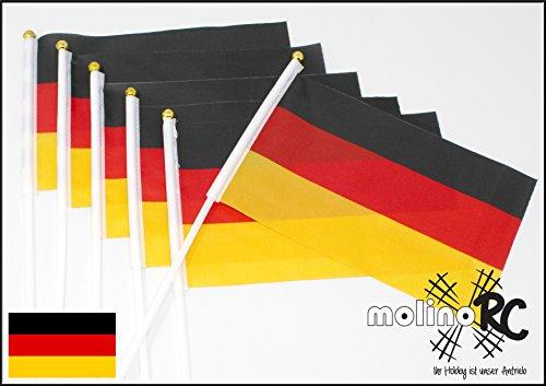 molinoRC | 6X Deutschland-Fahne | WM EM 2020 | Stockfahne | Fan-Set | Kinder-Fahne BRD | Fähnchen | Deutschland-Flagge | deutsche Marke