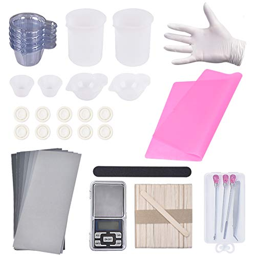 130PCS Resin Starter Kit with Silicone Mixing Cups, Silicone Measuring Cups,Sticks, Silicone Mat, Digital Pocket Scale, Sandpaper, Finger Cots, Stirring Needle Spoon Tool Set for Resin Art (Pink)