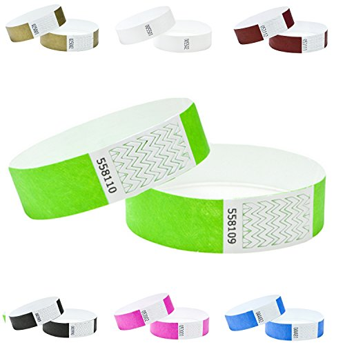 J&R Armbänder, papierähnlich, hergestellt aus Tyvek® 1000 Stück mit 17 Farbvarianten zur Auswahl., Neon Lime