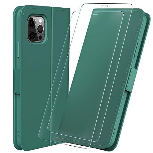 Msova iPhone12 Pro/iPhone12 ケース手帳型 ガラスフィルムセットカード収納 スタンド機能 2020年秋Newモデル6.1インチアイフォン12用スマホケース シリコン材質 ハンドメイド 軽量 耐衝撃 財布型 マグネット付き 携帯カバー 全面保護 グリーン