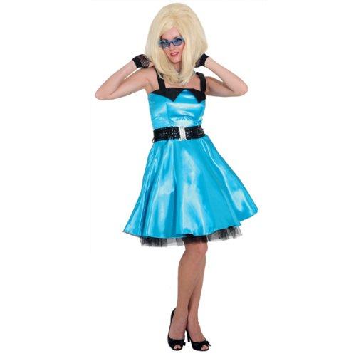 Sixties Kleid türkis mit Petticoat, Erwachsenen-Größe:44