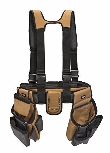Dickies 4-Piece Carpenter's Rig, Padded Tool Belt Suspenders, Cooling Mesh, Leather Tool Belt, Steel...