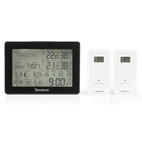 Tecvance Wetterstation mit 2x Außensensor - Funkwetterstation mit Farbdisplay - Innen- und Außentemperaturanzeige - inkl. Batterie - Wetterstation funk in schwarz