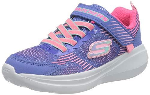 Skechers GO Run Fast Sneaker, Blau glitzerndes Netzgewebe mit Mehreren Ziernähten, 36 EU