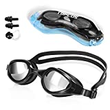 TOPLUS Swimming Goggles, No Leaking Anti Fog UV Protection Triathlon Swim Goggles with Soft Silicone Nose Bridge for Men/Women/Youth/Junior/Kids, Coming with Nose Clip Earplugs and Protection Case