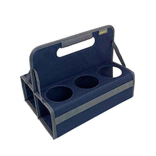 meori Reusable 6-Cup Carrier with Handle, Folds flat, Carry Coffee, Wine, Cocktails, Portable Drink Caddy (Marine Blue)