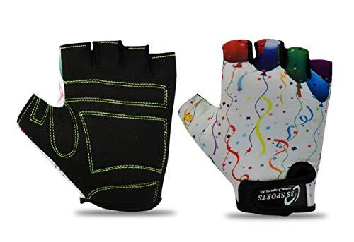 3S Sports Gepolsterte Fahrradhandschuhe für Kinder, Jungen, Mädchen, BMX, Weiß, XXXS