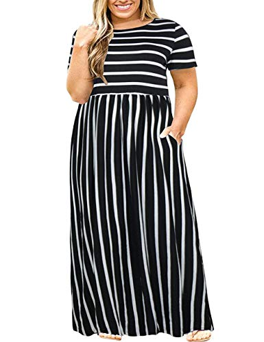 Kancystore Women Short Sleeve Loose Plain Casual Plus Size Long Maxi Dress with Pockets 3X