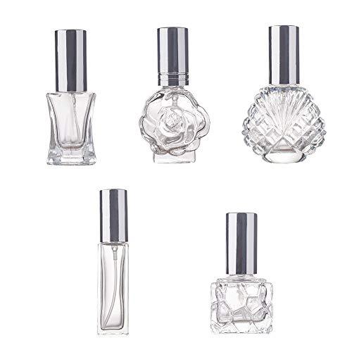 BENECREAT 5 Pack Botella Cristal de Perfume Spray de Perfume Contenedor Portátil de Atomizador Rellenable Recipiente de Spray de Cosmético 5 Estilos Mixtos
