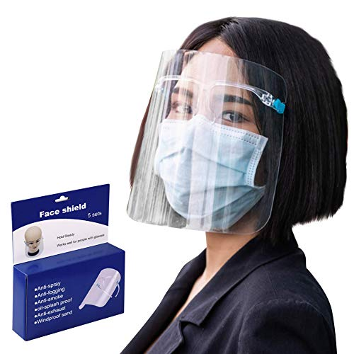 5 Pack Safety Face Shield With Safety Glasses - Reusable Adjustable Face Shield With Plexiglass Protective Face Mask - Anti-Fog Full Face Breathable & Detachable Visor - Remove Frosted Film Before Use