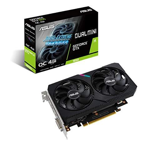 ASUS Dual NVIDIA GeForce GTX 1650 MINI OC Edition, Scheda Video Gaming Compatta, HDMI, DisplayPort, DVI-D, Striscia LED, Ventole AxialTech, Tecnologia 0 dB e Tecnologia Auto-Extreme