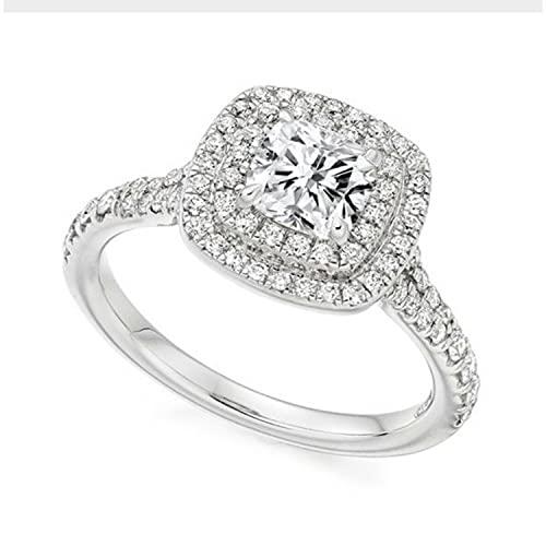 Anillo de compromiso con halo de diamantes de 1,00 quilates en platino, talla I