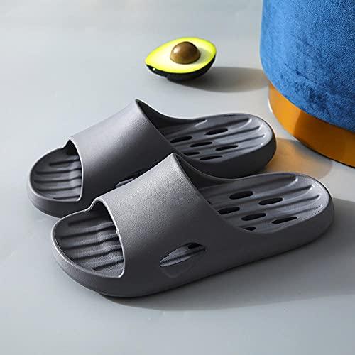 JFHZC Zapatillas de Ducha,Sandalias y Zapatillas de Ducha para Mujeres de Secado rápido con Fugas, Zapatillas de Masaje Antideslizantes para el hogar con Punta Abierta para hombres-41-42EU_Gray