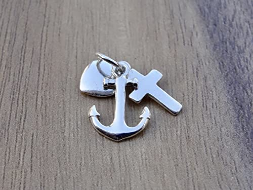 Faith Hope Love Pendant Sterling Silver 925 Cross Anchor Heart Small Necklace Charm Jewelry