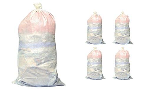 4x Premium piedra y saco de escombros 65x100cm PP tejido Saco Fuerza de tracción hasta 55kg con cordón para un cierre seguro