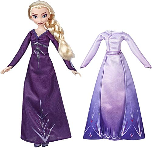 Disney Frozen Arendelle Fashions Elsa Fashion Doll with 2 Outfits, Purple Nightgown & Dress Inspired by 2 Movie - Toy for Kids 3 Years Old & Up, Brown