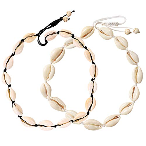 UEUC Shell Choker Necklace,White Natural Cowrie Beach Necklace,Hawaiian Surfer Seashell Necklace for Summer Vacation