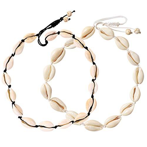 Collana girocollo con conchiglia UEUC, collana bianca naturale di cowrie da spiaggia, collana di conchiglie da surfista hawaiana per le vacanze