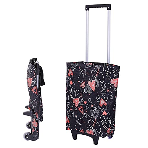 Falytemow Foldable Shopping Cart with Wheels Oxford Fabric Trolley Bag Collapsible Reusable Tote Bags Grocery Cart for Travel Home Kitchen Supermarket