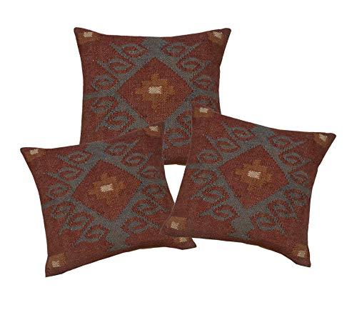 iinfinize - 3 PCs Set 18' Gorgeous Indian Handwoven Red Pillow Wool Jute Kilim Cushion Cover Geometric Design Square Shape Rustic Cushion Case Rest Pillow Boho Sofa Bed Pillow Sham Decor(IIN-CC-233-3)