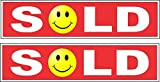 2-6x24 Sold Smiley Face Real Estate Rider Signs Red