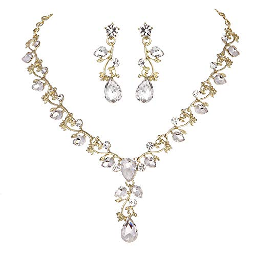 Youfir Leaf Vine Crystal Necklace Earrings Jewelry Set for Bridesmaids V-Neck Formal Evening Dress(Clear-Gold Tone)