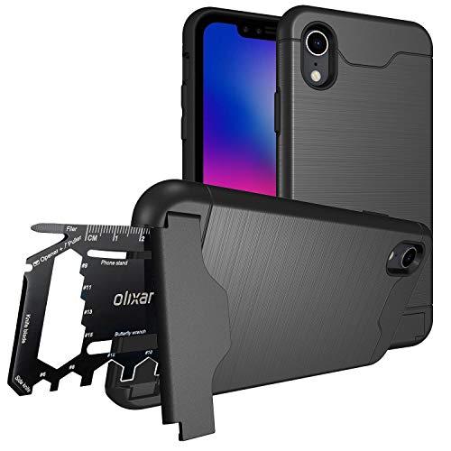 Olixar iPhone XR Military Case/Rugged Hülle/Survival - Kartenfach/Kartenslot - TPU Schale – Standfunktion - Kickstand/Medienstand X-Ranger - Multi Tool - Schwarz
