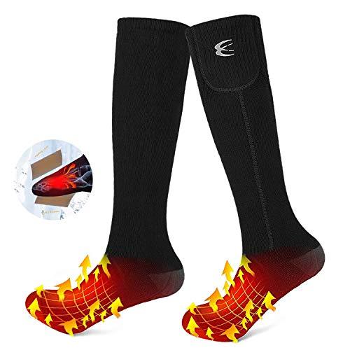 CRRXIN Heated Socks for Men Women, Heated Electric Socks, Rechargeable Battery 7.4V, foot Warmer Ski socks for Outdoor Winter Sports. (black, XL)