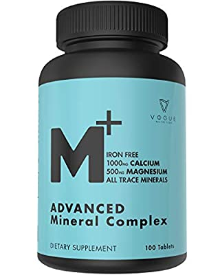 Chelated Multi Mineral Supplement with Zinc, Calcium & Magnesium for Immune Support - Mineral Supplements for Women & Men - All Trace Complete Mineral Complex (100 Capsules)