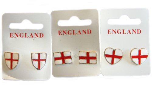 Angleterre Coupe du Monde drapeau Croix de Saint George – Boucles d'Oreilles Clous Femme – Rectangle Bouclier et en forme de cœur (un Lot)