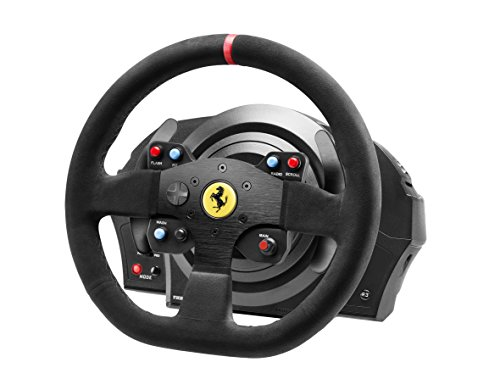 Thrustmaster T300 Ferrari Integral Alcantara Edition - Volante para PS4/PS3/PC - Force Feedback, 3 pedales - Funciona con juegos de PS5