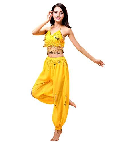 Grouptap Bollywood Frauen Indien arabische Dame Bauchtänzerin Pailletten Oben Schlitz Hosen Kleid Party Kostüm gelb Phantasie Erwachsenen Outfit (Gelb, 150-170 cm)