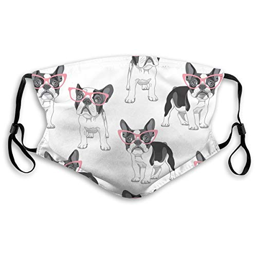 French Bulldog in a Pink Glasses Men Women Face Bandana 5-Layer Activated Carbon Filters Scarf Shield Reusable Washable Anti-Dust Medium
