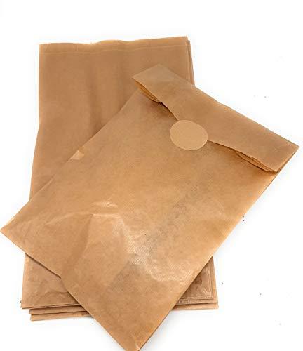 Tüten aus Kraftpapier für Backwaren, extra breit 23 x 11 x 39 cm (125 Stück) mit Verschlussetikett