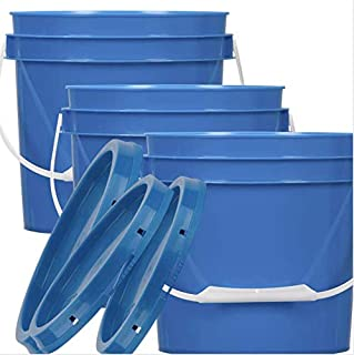 House Naturals 1 Gallon Plastic Bucket Container with Lid Blue Color Food Grade BPA Free Made in USA ( Pack of 5 Buckets)