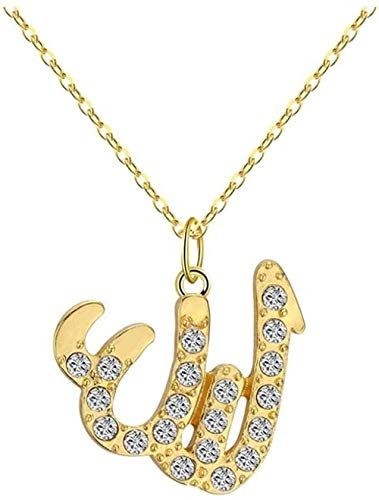 ZHIFUBA Co.,Ltd Collar Collar islámico de Oro Alá Collar árabe pequeño Fe Religiosa Árabe musulmán Kuran DOA Nombre de la joyería Dios Colgante Collar Regalo Mujeres Collares Pendientes