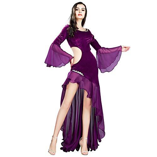 ROYAL SMEELA Frauen Kleid Tanzkostüm Kleider Samt Chiffon Langarm Kleid Latin Tango Dancing Maxi...