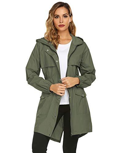 Avoogue Womens Rain Coat Waterproof Lightweight Rain Jacket Active Hooded Women's Trench Coats Army Green