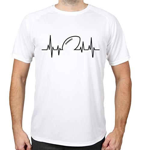 buXsbaum® Sport Performance T-Shirt Frequenz American Football | L, Weiß