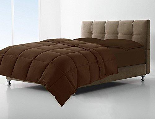 Clara Clark Down Alternative Comforter - All-Season Quilted Comforter/Duvet Insert - Hypoallergenic - Box Stitched - Full/Queen, Chocolate Brown
