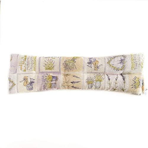 Decolores | Saco térmico de calor y frío con aroma a hierbas naturales. Cojín estampado de lavanda. Tamaño: 15 x 50 cms