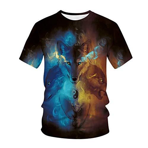 OPIAL Herren Rundhals T-Shirt Stretch Lässig Lose Tops Mode mit Tiermotiv Sweatshirt Lässige Basic Shirt T-Shirt 3D Tier Gedruckter Drucken (A2,Mehrfarbig,XL)