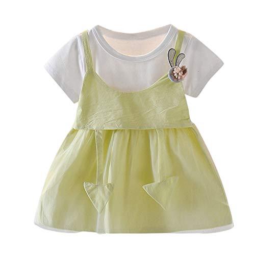 Livoral Neugeborene Säuglingsbaby Karikatur Kaninchen Sonnenblume Prinzessin Dress Outfits(#2 Grün,0-6 Monate)