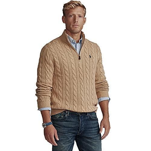 Polo Ralph Lauren Jersey de algodón Cable-Knit Half Zip (S, Camel Melange)