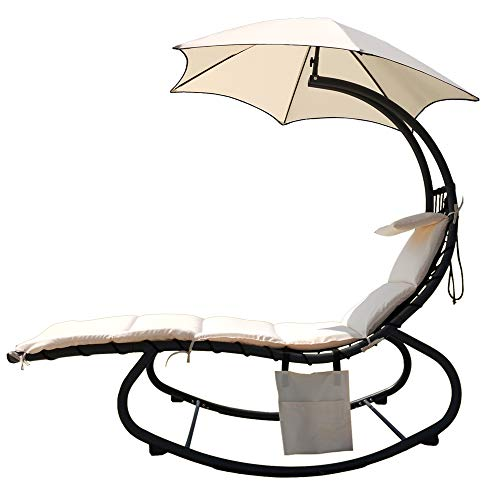 BalanceFrom Hanging Rocking Curved Chaise Lounge Chair Swing with Cushion, Pillow, Canopy, Stand and Storage Pouch, 330-Pound Capacity, Rocking Chair, Beige