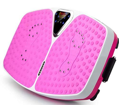 Ultra-Slim Body Shaper Vibrationsplatte LCD-Display, 99 Stufen, inklusive Fernbedienung, Trainingsbänder, Kapazität 150 kg (Rosa)